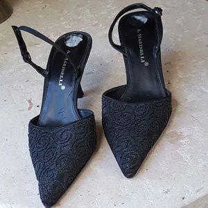 A. Marinelli black slingback dress shoes